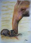 Mit Mama im Bade, Pastell, 40x30, 2014