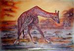Die rote Giraffe/Wasserspiele, Pastell, 30x40, 2015