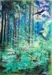 Bunte Blätter 19/ Ein Waldstück, 34x24, Pastell, 2016