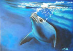 """Bunte Blätter 13/ """"Deap blue sea"""", 24x34, Pastell, 2016"""
