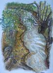 Insel flußabwärts, Pastell, 40x30, 2013