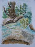 Insel 4, die Sandbank, Pastell, 40x30, 2013