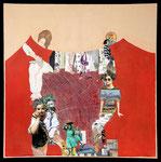 Living in circles, Collage auf Leinwand 100 cm x100 cm, 2018