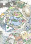 福岡街。記憶力を簡単に上げる事ができる記憶術の根幹である 『 街(場所) 』 『 想像力(イメージ力) 』 を具現化する 『 アトリエきよし(吉村清:福岡の思想家・漫画家・イラストレーター) 』 氏 作品。