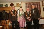 Jahr 2013: Schützenkönigin: Weidel Marion, Wurstkönig: Brunner Karl-Heinz, Brezenkönig: Weidel Michael