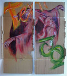 'Tentazioni' 'Sensuali' (Diptychon), acrylics and collage on chipboard, 144,4 x 67cm and 144,4 x 64cm, 2005