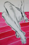 'Gambe su striscie rosse', acrylics on canvas, 74,4 x 48cm, 2004