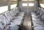 Все сиденья снабжены 4-точечными ремнями безопасности и имеют регулируемую пневматическую подвеску. Последний момент довольно спорный, ибо на пересеченной местности лучше лавочек намертво привинченных к кузову, пока ничего не придуманно