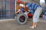 missglückte Rettung des kaputten Reifens