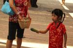 chinesisches Mädchen füttert Elefanten