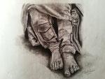 """Sin hogar"". Dibujo a grafito sobre papel. 18 cm x 14 cm"