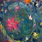 """Flores"". Oleo sobre lienzo. 60 cm x 60 cm"