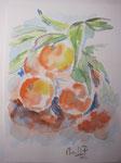 """Naranjas"". Tinta sobre papel. 15 cm x 20 cm"