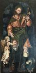"""""""San Roque con el perro y el ángel"""". Acrílico y óleo sobre lienzo. 50 cm x 80 cm"""