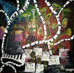"""Marina big Band"". Acrílico sobre lienzo. 200 cm x 200 cm"