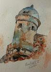 """""""Torre vigía"""". Acuarela y tinta sobre papel. 17 cm x 23 cm"""