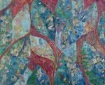 """Hojas"". Oleo sobre lienzo. 110 cm x 110 cm"