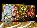 """""""Los colores del Jazz"""". Acrílico sobre tabla. 240 cm x 120 cm. Pintado en directo durante un concierto de jazz"""