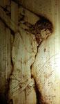 """Jesús en la cruz"". Pirograbado sobre tabla. 50 cm x 100 cm"