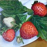 """""""Erdbeeren"""" Ölgemälde auf Holz (15 x15) 2015"""
