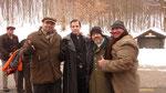 """Ralf Seeger mit den US-amerikanischen Schauspielern Michael Paré und Clint Howard, die als """"Commandant Ekart Brand"""" und als """"Doktor"""" den Part der """"Film-Bösewichte"""" übernehmen."""