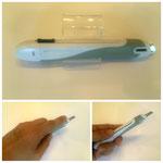【安心構造カッターナイフ〈フレーヌ〉】 左右どちらの手でも使いやすい水平スライダー付のカッターナイフです。 ¥356(税込)