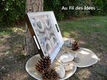 """Plateau """"Coeur de galets"""" (50x40 cm) - Création juin 2011"""