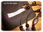 "Sautoir ""Chocolat"" & sa pochette tissu made in Au Fil des Idées ... Créations mai 2011"