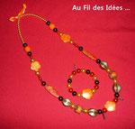 """Sautoir & son bracelet """"Un zeste d'orange"""" - Création déc 2010"""