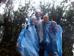The rain has come! In our great ponchos walking through the rainforest in the rain!