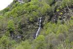Wasserfall umrahmt von zartem Frühlingsgrün