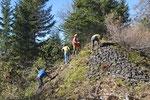 Ein alter Steinkegel (Lawinenverbauung) wird entbuscht, Berner Oberland