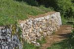 Dieselbe Trockenmauer nach der Sanierung, bereits besiedelt von ersten Mauereidechsen