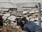 Beim Fotografieren einer Viper im Fundament einer Alphütte (Foto: ©Beat Schneeberger)