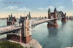 Alte Rheinbrücke, kolorierter Lichtdruck um 1905, Bildnummer: bbv_00411