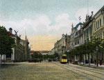Ein Triebwagen der elektrischen Straßenbahn vor dem Hauptbahnhof, um 1908, Bildnummer: bbv_00306