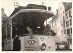 Elektrische Straßenbahn am Tag der Offenen Tür auf dem Friedensplatz, um 1975, Bildnummer: bbv_00863