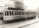 Elektrischer Triebwagen mit Anhänger am 11.1.1957 auf dem Friedensplatz, Bildnummer: bbv_00862