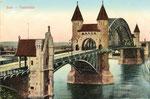 Alte Rheinbrücke, Heliochromdruck um 1910, Autochromdruck um 1915, Bildnummer: bbv_00416