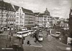 Straßenbahnen und Dieselbusse auf dem Friedensplatz um 1950, Bildnummer: bbv_00291