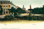 Westflügel vom Kaiserplatz aus, kolorierter Lichtdruck um 1900, Bildnummer: bbv_00471