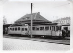 Elektrischer Triebwagen der BGM vor dem Rheinuferbahnhof, um 1950, Bildnummer: bbv_01165