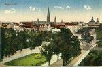 Kaiserplatz mit dem höhengleichen Bahnübergang, Heliochromdruck um 1910, Bildnummer: bbv_00470