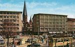Vorkriegstriebwagen der Straßenbahn am heutigen Busbahnhof, um 1958, Bildnummer: bbv_00310