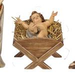 statua Sacra Famiglia con culla semplice - Gesù Bambino