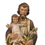 statua San Giuseppe con Bambino in legno - volto