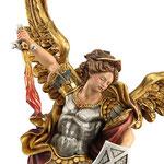 statua San Michele in legno - volto