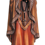 statua Santa Caterina Tekakwitha in legno - busto