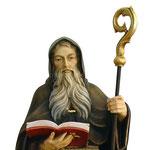 statua San Benedetto in legno - volto