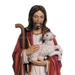 statua Gesù buon pastore in legno - volto